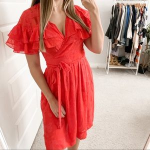 Rebecca Taylor Ruffle Clip Dress Candy Apple Red